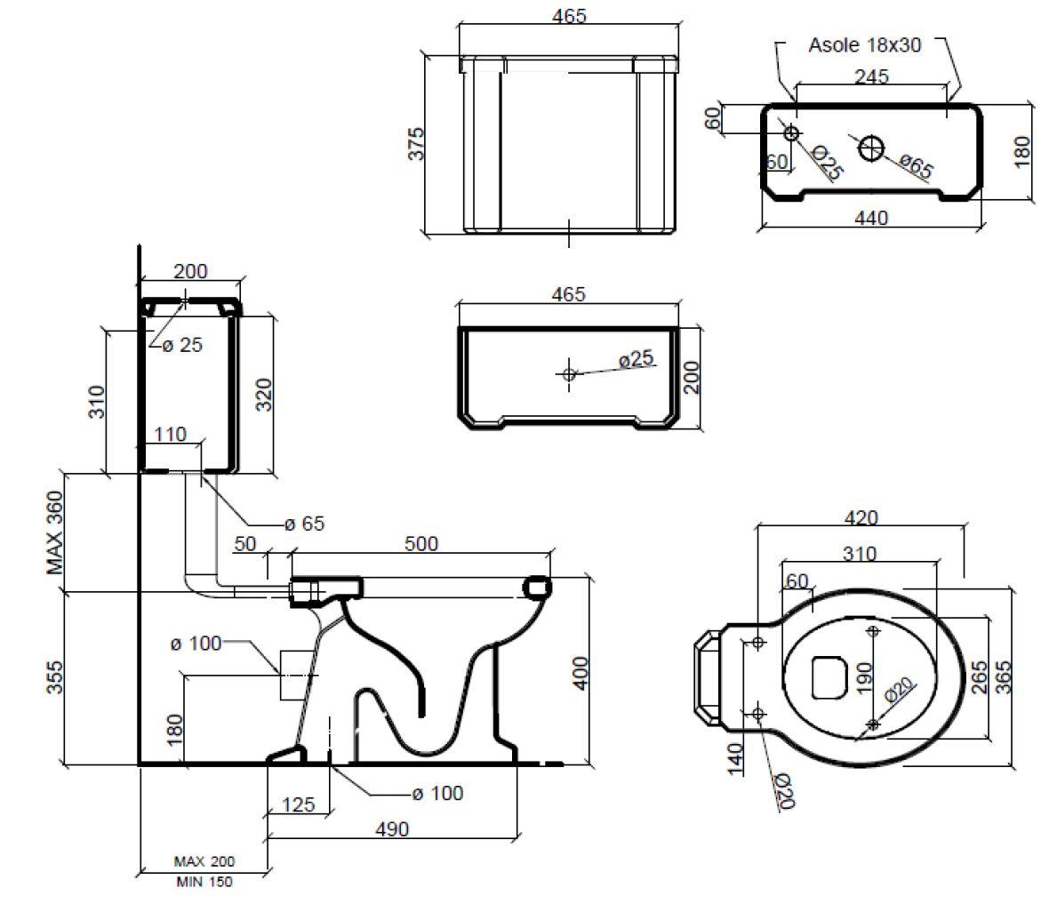 Dimensions Sbordoni Neoclassica  Low Level Toilet Set