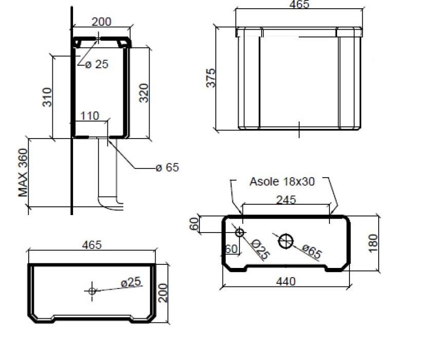 Dimensions Sbordoni Neoclassica Low Level Cistern