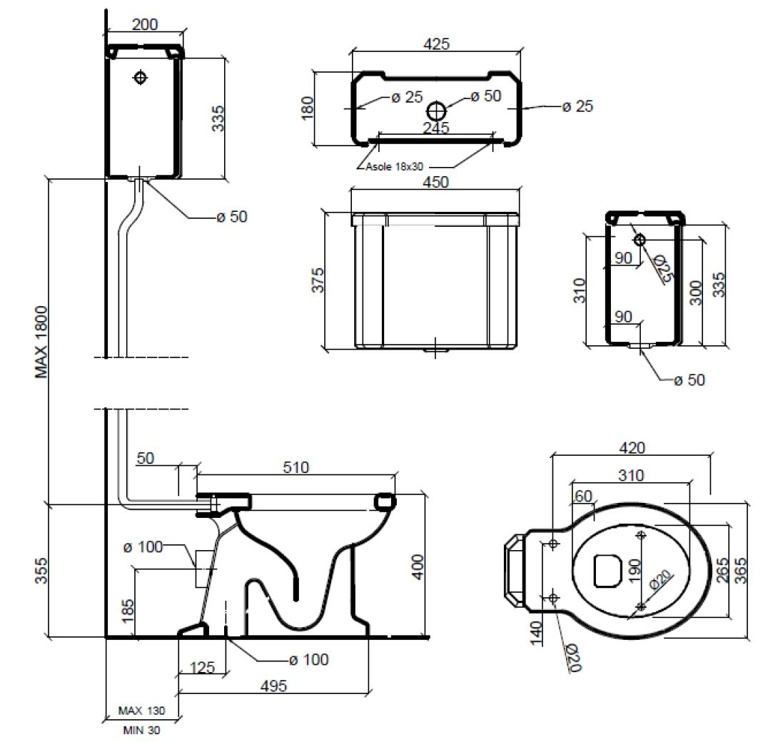 Dimensions Sbordoni Neoclassica High level Toilet Set