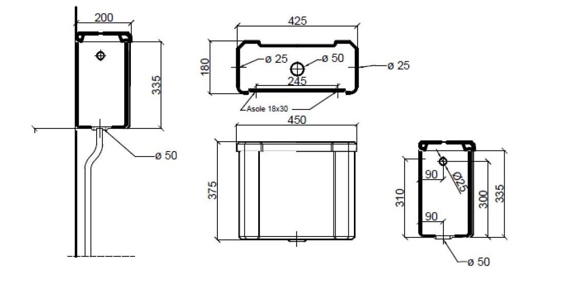 Dimensions Sbordoni Neoclassica High Level Cistern