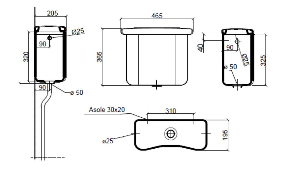 Dimensions Sbordoni Palladio High Level Cistern