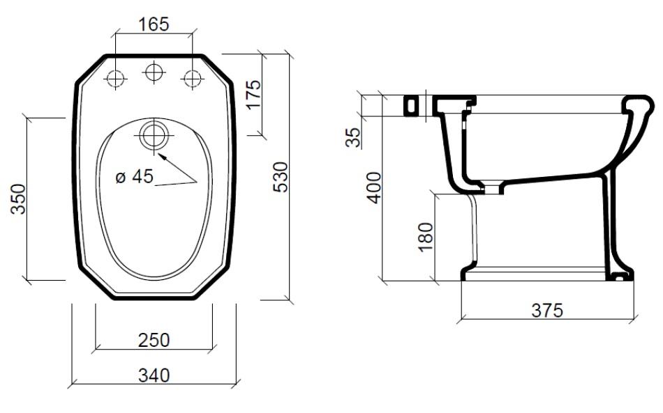 Dimensions Sbordoni Romana Floor Standing Bidet