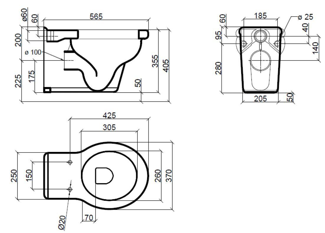 Dimensions Sbordoni Palladio Wall Hung Toilet Pan