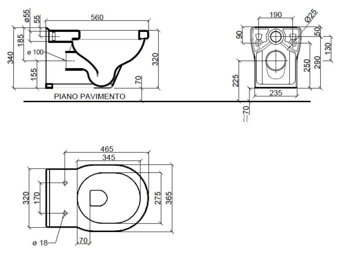 Dimensions Sbordoni Neoclassica Wall Hung Pan