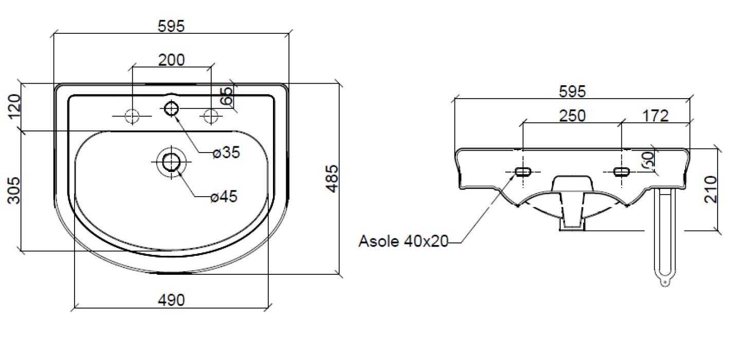 Dimensions Sbordoni Masaccio 595mm Wide Console Basin