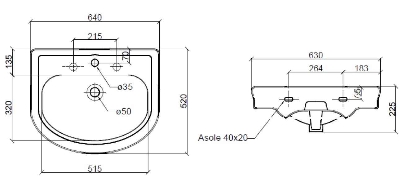 Dimensions Sbordoni Masaccio 640mm Wide Console Basin