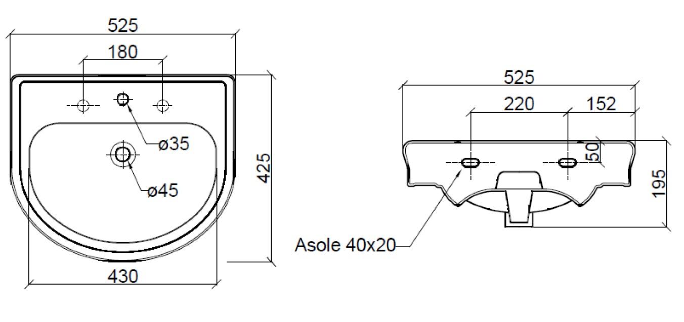 Dimensions Sbordoni Masaccio 525mm Wide Console Basin