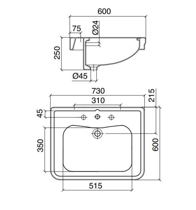 Dimensions Sbordoni Neoclassica 730mm Basin