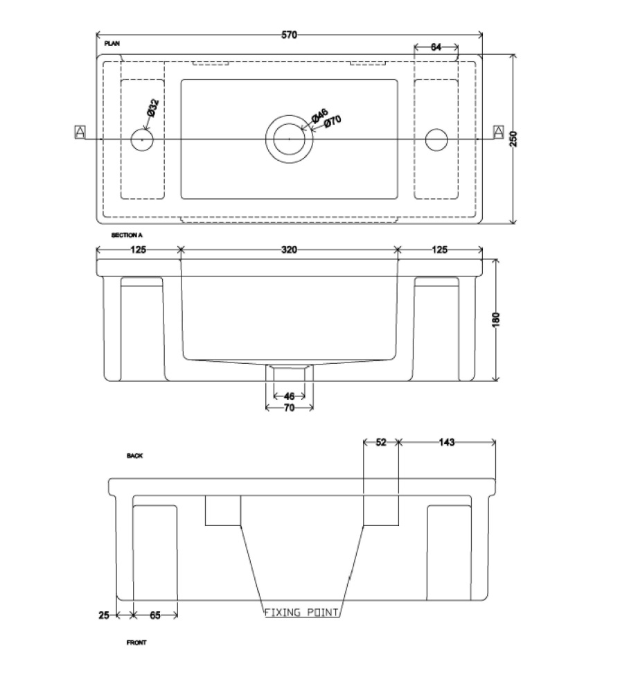 Thomas Crapper Bentham Sink Dimensions