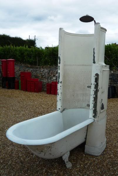 Antique reclaimed cast iron canopy shower bath