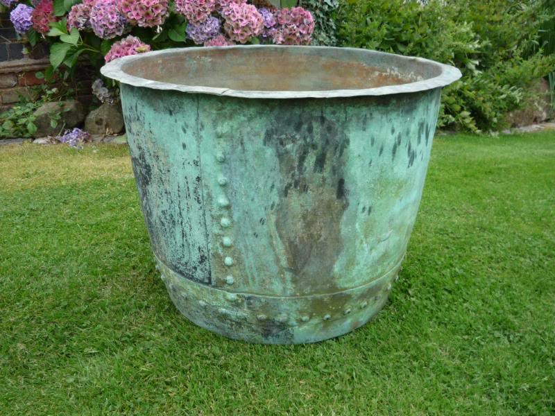 large antique victorian copper garden plant pot 4251