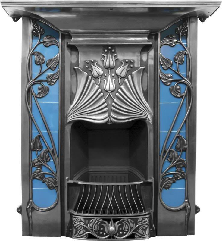 Original antique art nouveaux cast iron combination fireplaces with tiled inserts are newly made from original moulds and available for a next day delivery