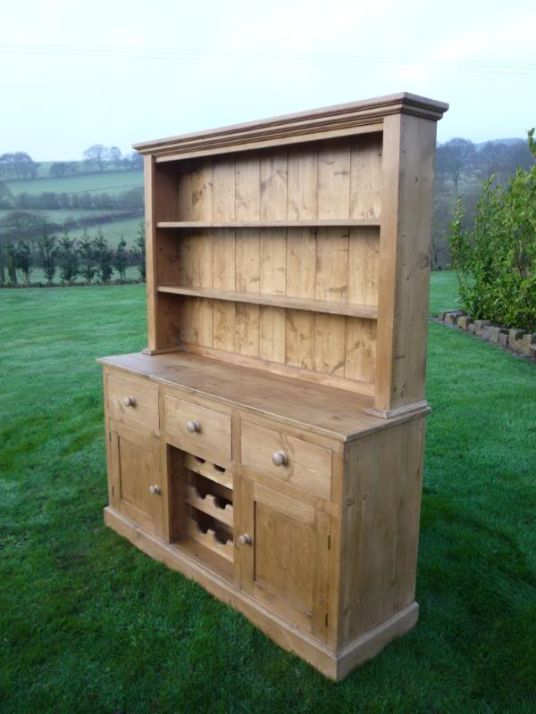 Personalised kitchen dresser made from reclaimed pine available to view in our showroom