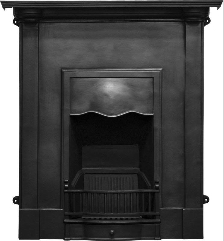 Carron Abingdon style combination cast iron fireplaces are available in a black, hand burnished or full polish finish and ready to collect from our warehouse