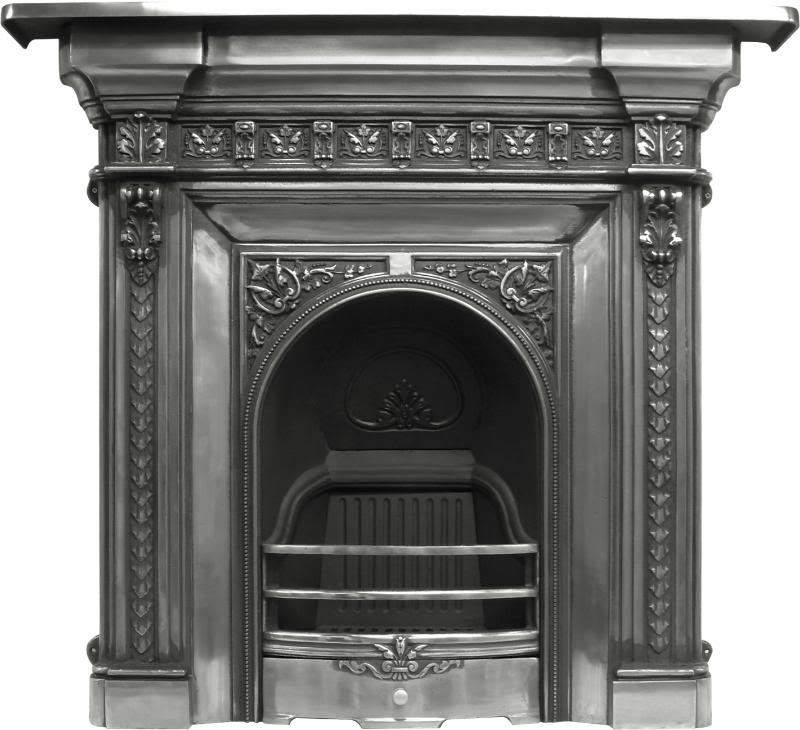 Carron reproduction Melrose cast iron combination fireplace available in a full polish or black finish in stock and available for delivery worldwide