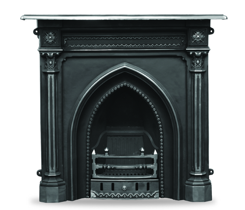 Traditional gothic style HEF055 combination cast iron fireplaces made by Carron in a highlight finish in stock in our warehouse and ready for delivery worldwide