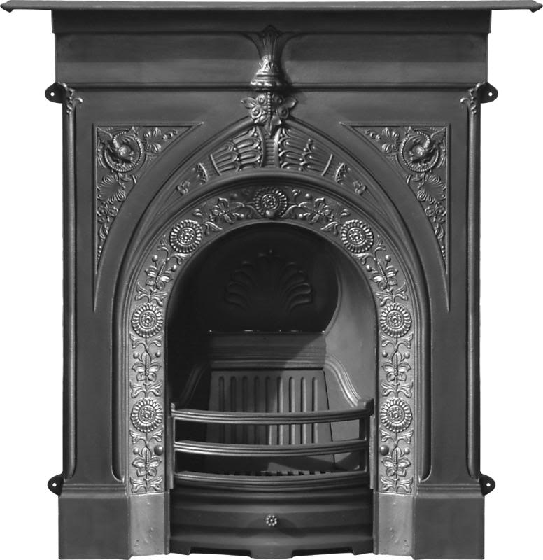 Carron cast iron combination fireplaces in a traditional Victorian, art nouveau or gothic style are in stock in our warehouse ready for you to view and purchase