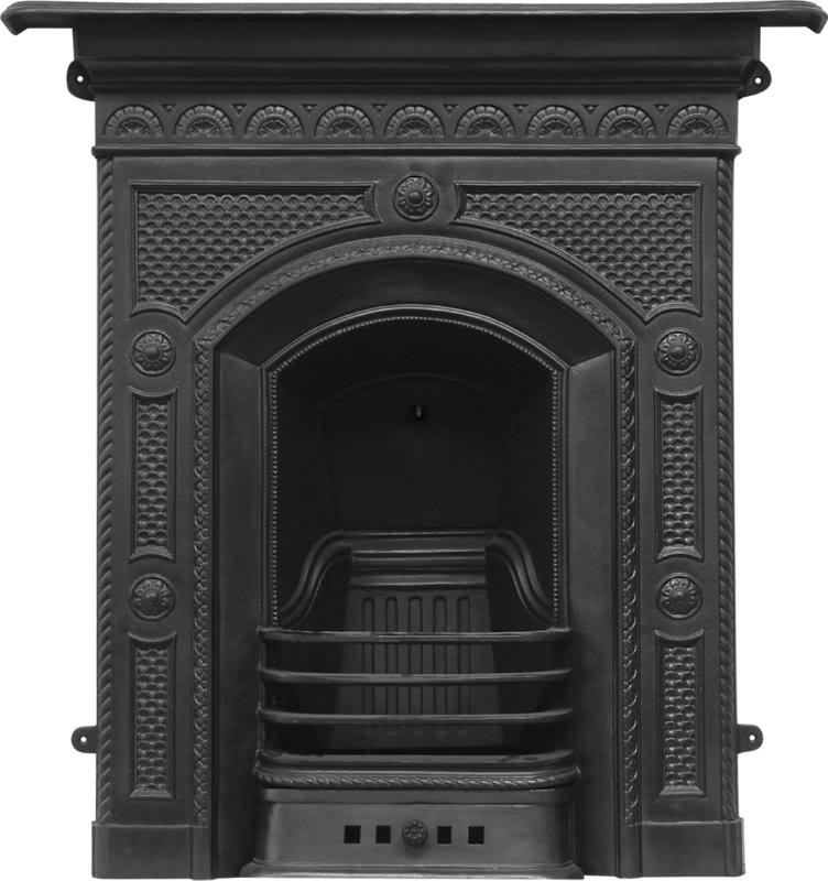 Combination cast iron fireplaces are made traditionally by Carron and available to view in our showroom in black, highlight polish and full polish finishes
