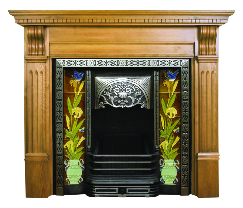 Carron Aladdin highlight polish black cast iron fireplace inserts come with traditional hand painted tiled inserts these can be viewed in our showroom