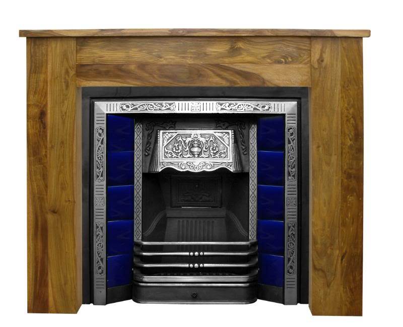Carron camden RX001 black and polished cast iron fireplace inserts come with a range of traditional patterned hand painted tiles these can be delivered next day