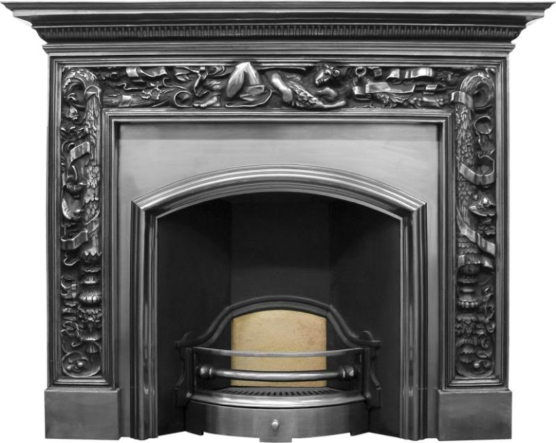 The Carron London plate traditional style cast iron fireplace inserts have a wide opening and are available for delivery worldwide in a black or full polish finish