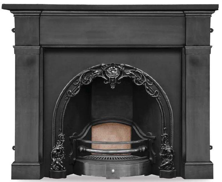 Reproduction Carron cast iron cherub black and polished fireplace inserts suit Victorian and Georgian properties and are available to view in our yard