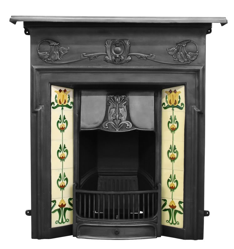 Original reclaimed Victorian fully refurbished combination cast iron fireplace with a tiled insert in stock and ready for delivery on a next day service