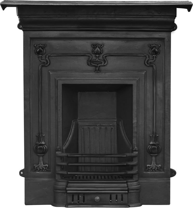 Carron Winchester HEF204 or HEF243 cast iron combination fireplaces are a art nouveau style and kept in stock ready for immediate delivery from our yard
