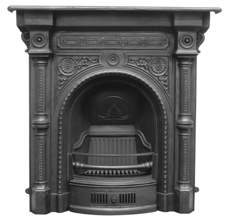 Carron tweed style RX084 combination cast iron fireplaces are available in a black or full polish finishes and are ready to collect from our warehouse