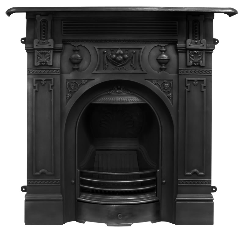 Traditional antique reclaimed Victorian style cast iron combination fireplaces newly made from original moulds by Carron and available to view in our showroom