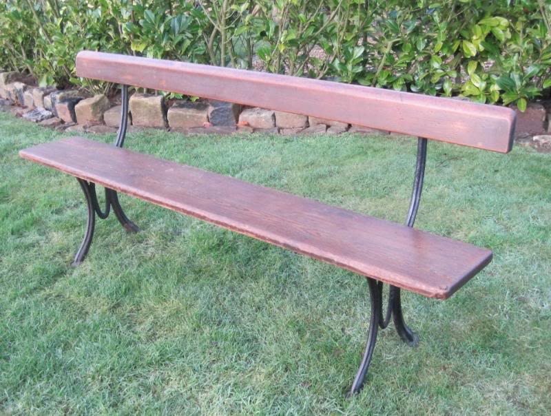 Antique cast iron and wood railway or garden bench - Wood and iron garden bench ...