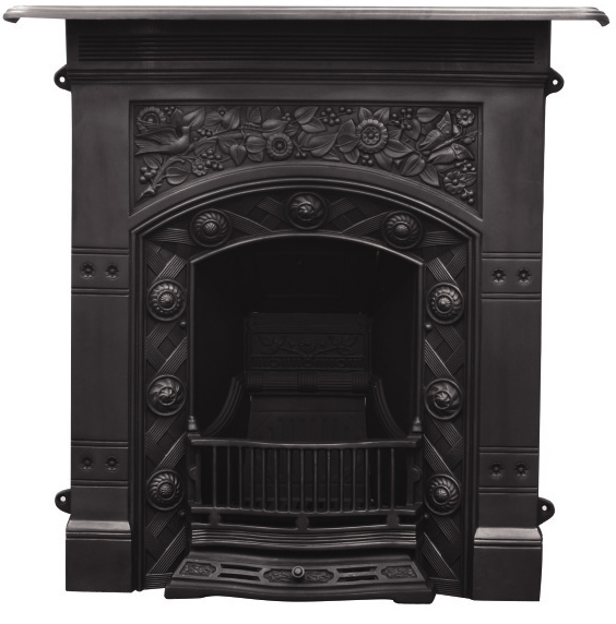 Antique original reclaimed style Carron cast iron combination fireplace with basket cast traditionally and available for immediate dispatch