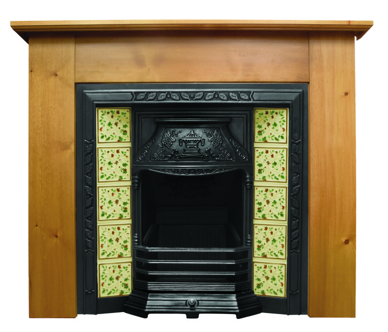 Traditional laurel style HEF341 cast iron fireplace with hand painted tiled inserts made by Carron in a highlight or black finish ready for a next day delivery