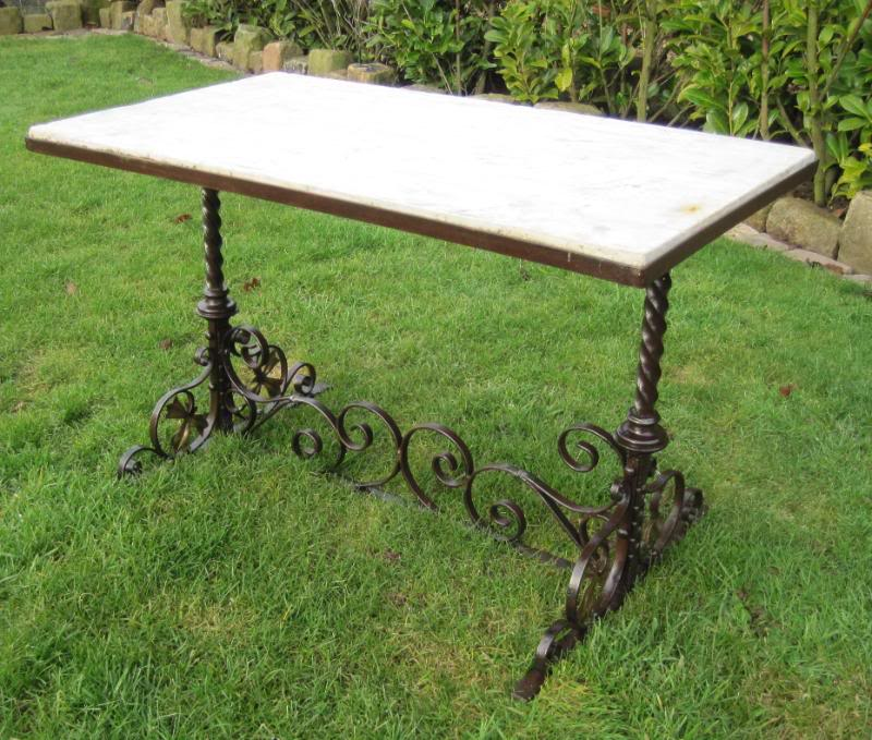 Victorian Marble Coffee Table: Victorian Antique Gothic Iron And Marble Coffee Table 4531