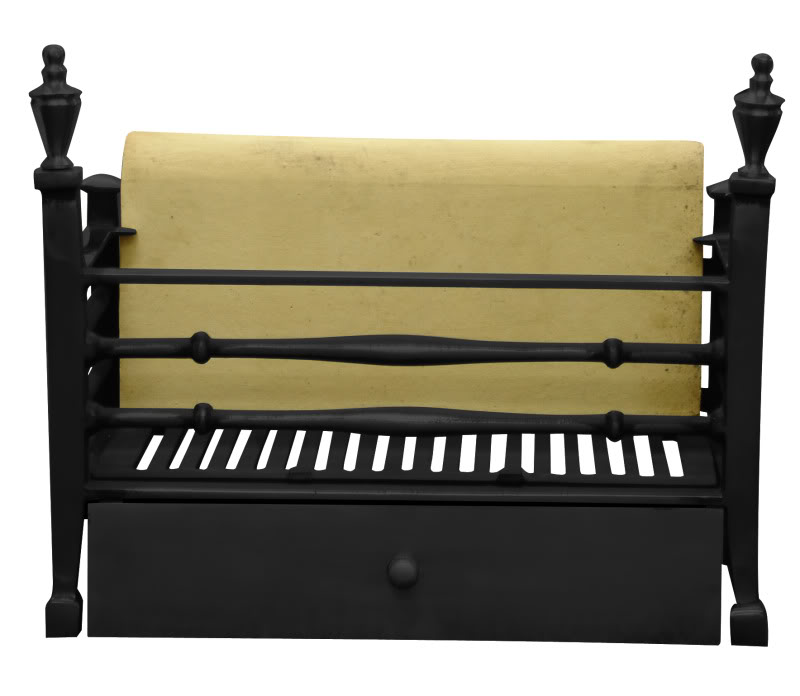 Reproduction Carron cast iron Georgian dog grates RX151 are available in black or full polish finishes and are in stock ready for delivery worldwide
