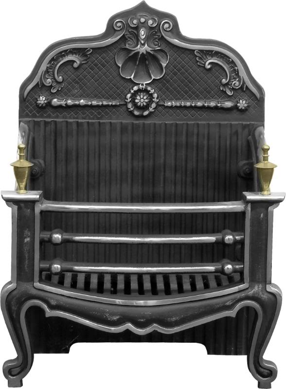 New Carron black and burnished cast iron fire baskets or dog grates are available in original traditional Victorian styles and available for a next day delivery