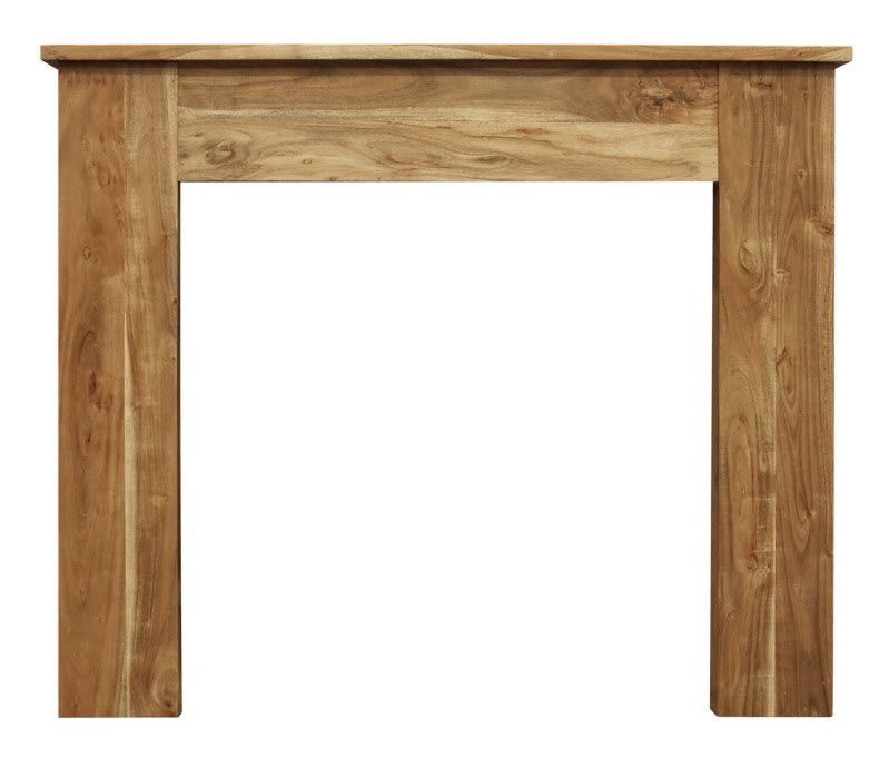 Simplistic design Carron natural solid acacia fireplace surrounds are traditionally made and ready for delivery worldwide