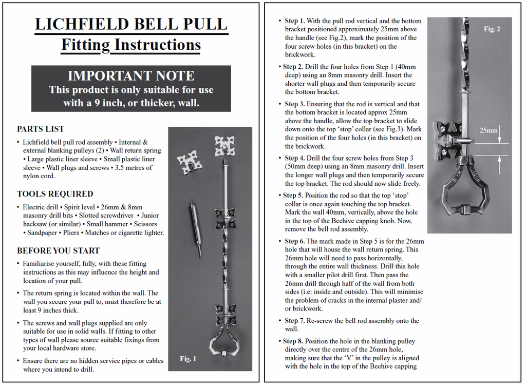 fitting instructions for the Lichfield bell pulley we have in our showroom