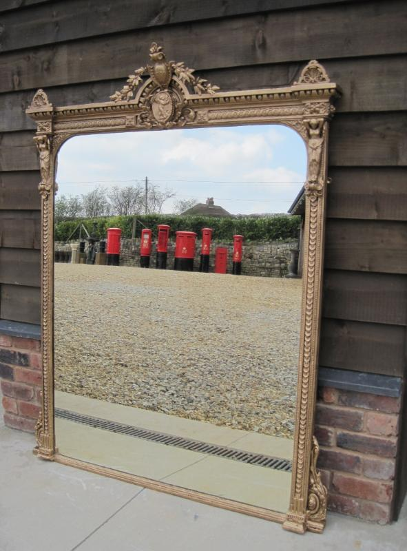 Original antique reclaimed decorative over mantel chimney piece mirrors are available to view and buy from our reclamation yard in Staffordshire