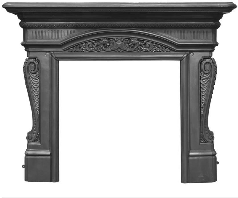 Large ornate Carron Buckingham RX295 cast iron fireplace surrounds are