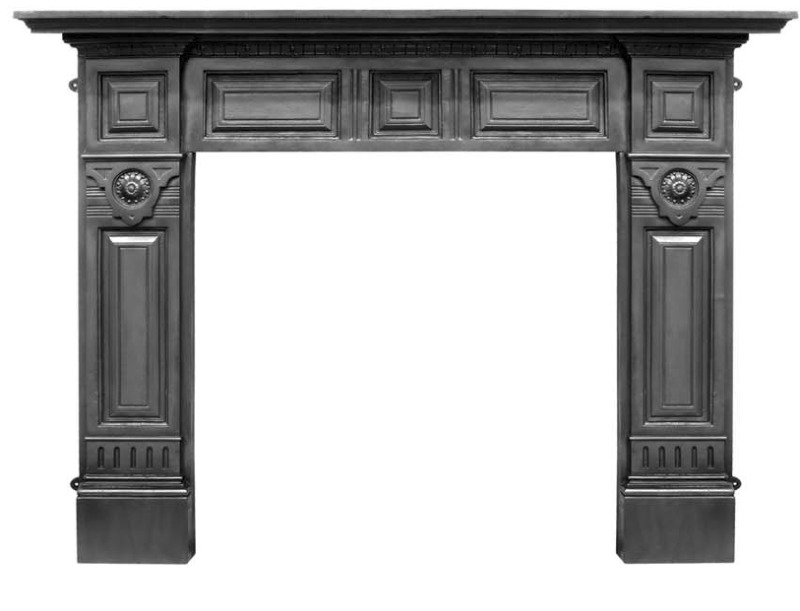 Hampton HEF311 black cast iron fireplace mantelpiece or surrounds are made traditionally from old moulds by Carron and ready for collection or delivery