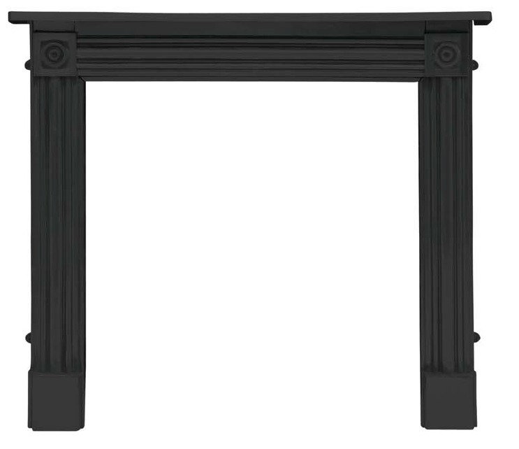 Classic cast iron fireplaces made by Carron in a regent style in black or full polish finishes are in stock ready for delivery worldwide