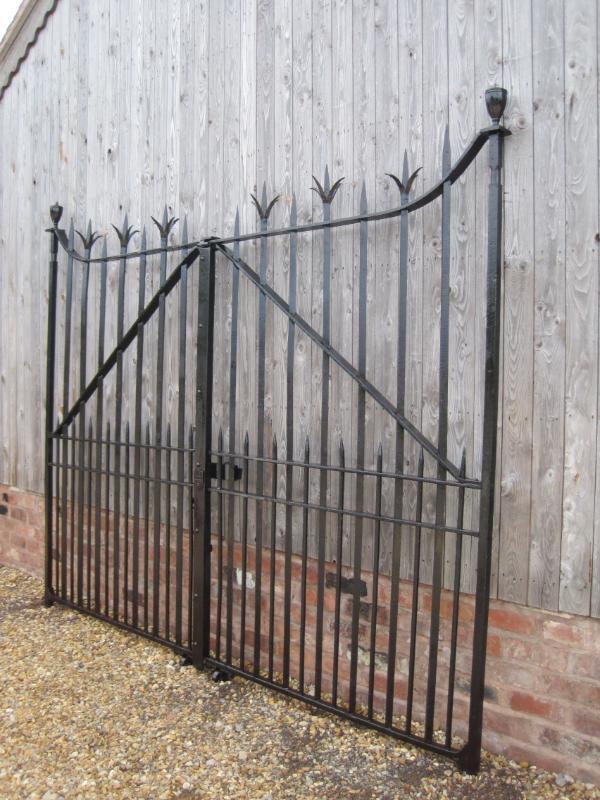 Pair Victorian Salvaged Antique Wrought Iron Gates 4596