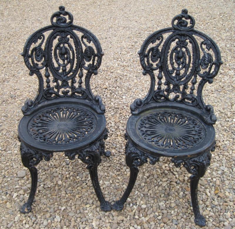 Pair of Vintage Reclaimed Cast Iron Garden Chairs 4979