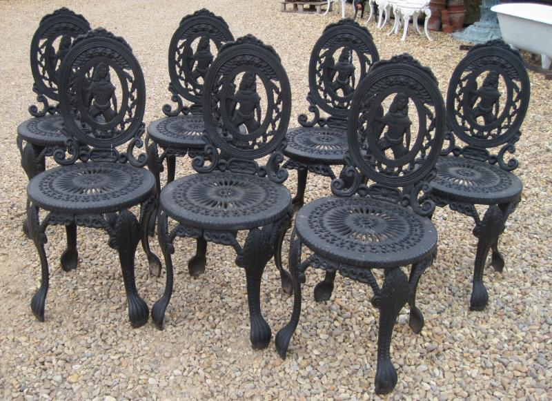 Set of 7 vintage reclaimed cast iron garden chairs Cast iron garden furniture