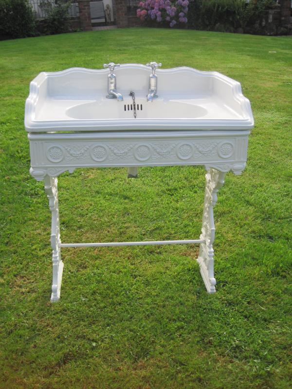 Victorian Bathroom Sink : Original Antique Victorian Bathroom Sink with Cast Iron Stand 4027