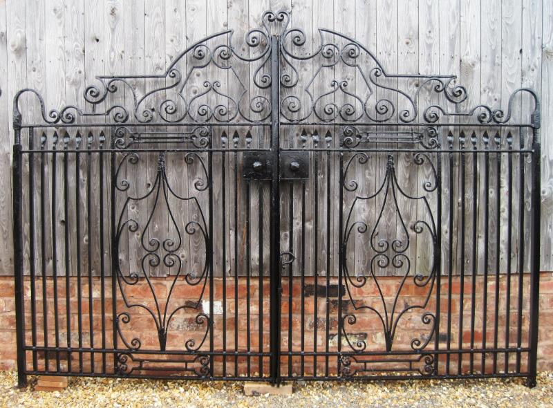 Antique salvaged reclaimed art nouveau driveway gates fully refurbished here in our workshops