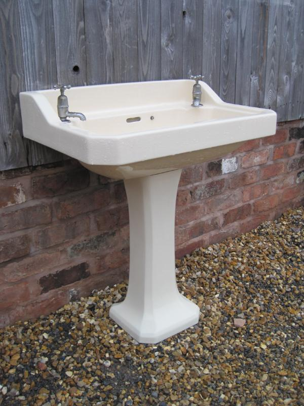 Antique Reclaimed Cream Sink and Pedestal 5142