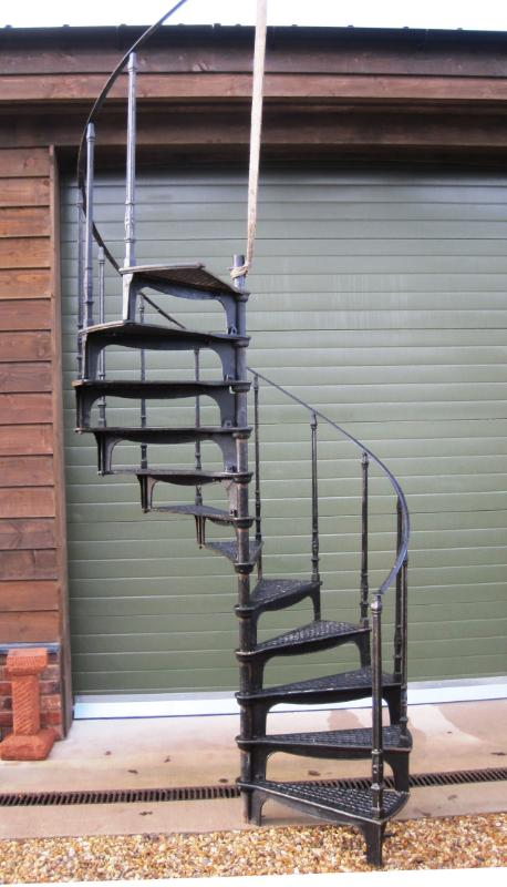 large reclaimed cast iron spiral staircase with top rail 5162