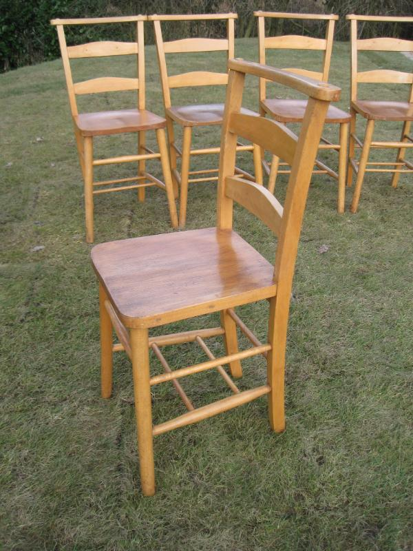 Set Of Excellent 6 Antique Church Chairs Chapel Chair Dining Restaurant EBay